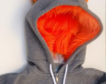 My (Big) Monster Hoodie  - Gray and orange - Adult Unisex XLarge - monster hoodie, horned sweatshirt, adult jacket
