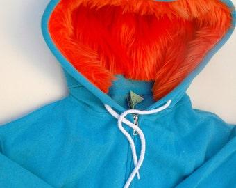 My (Big) Monster Hoodie - Aqua and orange - Adult Unisex Medium - monster hoodie, horned sweatshirt, adult jacket