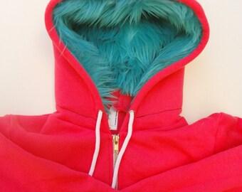 My (Big) Monster Hoodie - Pink and aqua - Adult Unisex XLarge - monster hoodie, horned sweatshirt, adult jacket