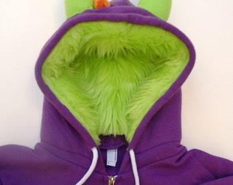 My (Big) Monster Hoodie - Purple and lime - Adult Unisex XLarge - monster hoodie, horned sweatshirt, adult jacket