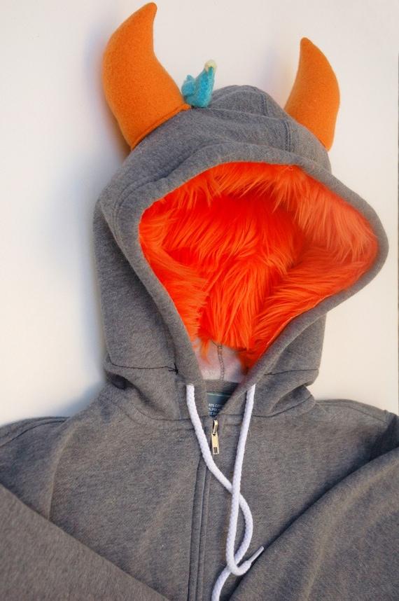 My (Big) Monster Hoodie  - Gray and orange - Adult Unisex XSmall - monster hoodie, horned sweatshirt, adult jacket