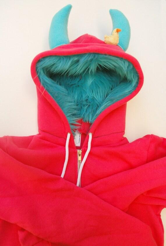 My (Big) Monster Hoodie - Pink and aqua - Adult Unisex XSmall - monster hoodie, horned sweatshirt, adult jacket