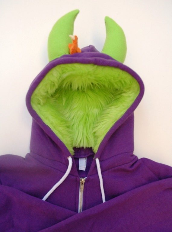 My (Big) Monster Hoodie - Purple and lime - Adult Unisex 2XLarge - monster hoodie, horned sweatshirt, adult jacket