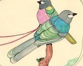 Bird Illustration art Print 8x10 - Two