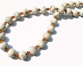 White Turquoise Necklace, Howlite, Hessonite Garnet, Bold Statement Necklace, Sterling Silver