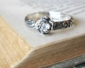 Flower Birthstone Ring Gemstone Ring Promise Ring Sterling Silver Stackable Mothers Ring