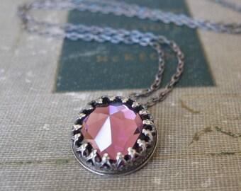 Vintage Swarovski Purple Amethyst Crystal Necklace in Oxidized Sterling Silver Ready to Ship