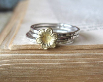 Sunny Yellow Flower Stacking Ring Set  Bright Silver Brass Flower Stackable Hammered Rings Set of three