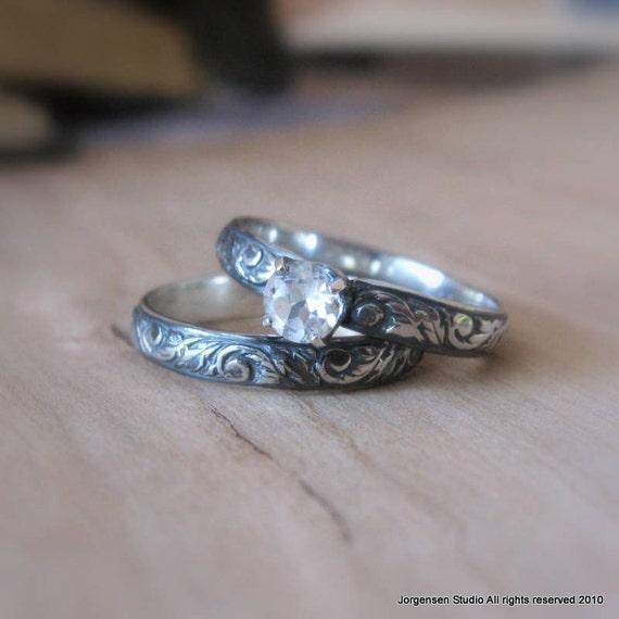 White Topaz Alternative Engagement Ring  Gemstone Promise Ring  or Stack Ring