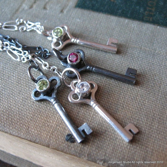 Gemstone Key Charm Necklace in Sterling Silver with Peridot Oxidized