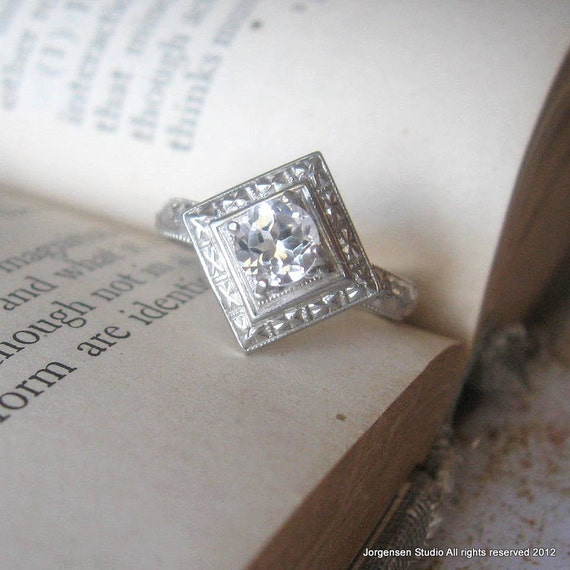 Edwardian Engagement Ring Promise Ring with Round White Topaz Gemstone Sterling Silver