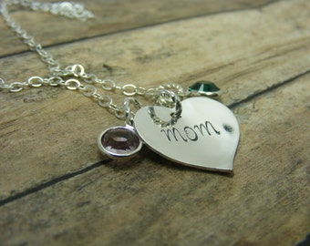 Handstamped-sterling silver-personalized-Cupped heart necklace