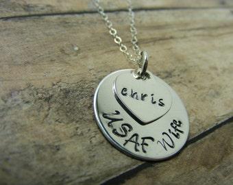 Personalized-Hand Stamped jewelry-military wife-mom-friend-girlfriend
