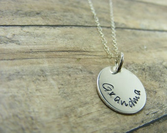 Personalized-handstamped-sterling silver-5/8 inch disc necklace
