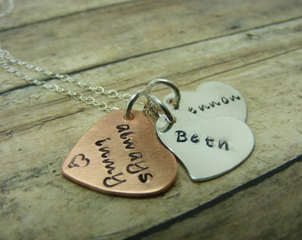 Remembrance necklace-handstamped-personalized necklace-sterling silver-copper-always in my heart times two
