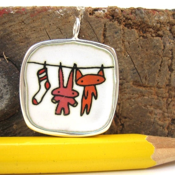 Laundry Day Necklace - Silver and Enamel Reversible Necklace - Clothesline with Cat, Bunny, and Sock - Playtime - Hopscotch