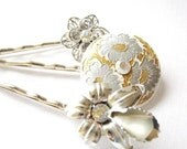 Nostalgic Wedding No.34 - Vintage Flower Rhinestone Jewel Hair Pin Collection in silver and Gold for the Bride or Special Occasion