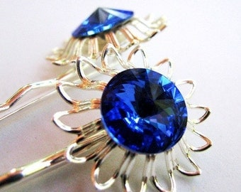 Something Blue No.57 - Sapphire Blue Flower Rhinestone Hair Pin For the Bride or Special Occasion