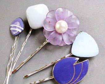 Lushly Lavender - Romantic Vintage Bauble Hair Pin Set in Shades of Lilac, Lavender and Purple, acrylic and enamel 1980s glam