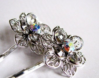 Splendor - Simple Swarovski Flower Hair Pin Set - In Aurora Borealis Crystal, Winter Weddings, Icy Glamour