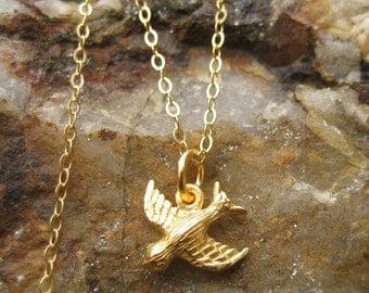 Gold Bird Necklace - Peace Dove