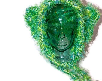 Flashy Green Elephant Ear Wool and Acrylic Bonnet Style Hat