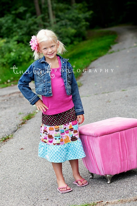 Girls toddlers skirts Birthday Girls Skirt... Ready To Ship  Cupcake Dreams flouncy Birthday party skirt 2t-9 Youth
