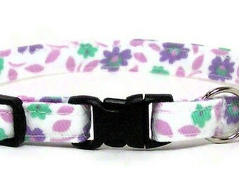 Cute Cat Collar - Pretty Purple Floral - Breakaway Safety Cute Fancy Cat Kitten Collar