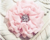 Pastel Pink Flower. Hair clip. brooch. headpiece. Chiffon Fabric. Pin and Hair Clip Combo. Bridesmaids. Ruffles. Light PInk