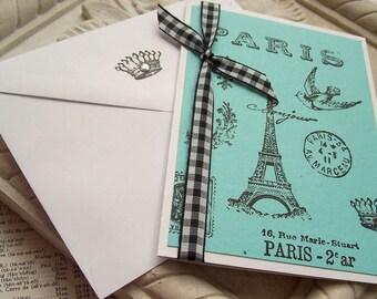 Paris All Occasion Card.Handmade.Blank.Aqua & Black.Chic.Parisian.French.Eiffel Tower.Birthday.Thank you.Note card.Greeting Card.Crown.Fleur