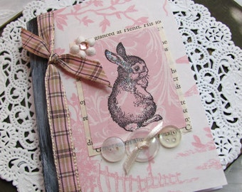 Rabbit Mini Altered Composition Book.Journal.Pink/Ivory Toile.Mini journal.Bunny.Toile.Small altered composition book.small.petite.Paris.SM