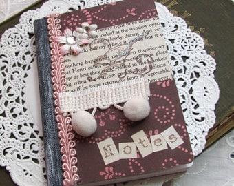Bird Altered Composition Book.Journal.Pink Brown.Mini Notebook.Small altered composition journal.small altered book.journal.light pink.tiny