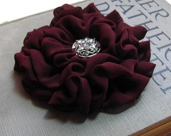 Maroon Flower Hair Clip.Headpiece.Brooch.Chiffon.Bourdeaux.Wine.pin.bridesmaid headpiece.wedding.hair piece.hair accessory.chiffon flower