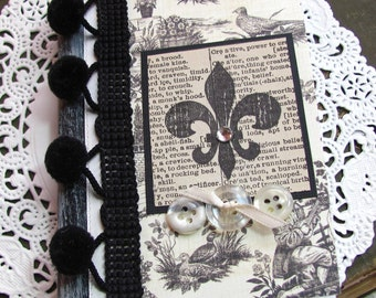 Mini Altered Composition Book.French Toile.Petite Notebook Journal.Fleur de lis.Black Ivory.Altered notebook.small altered composition book