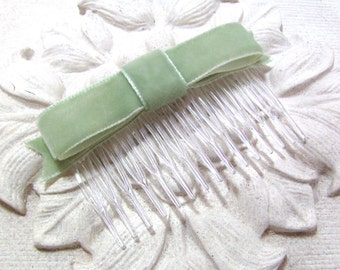 Sage Green Velvet Bow Hair Comb/Clip.SALE.Fascinator.Light Green.Headpiece.Hair Accessory.Bridesmaid.French.CLEARANCE.Choose comb or clip