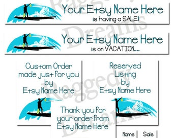 Premade Etsy Banner Set - Etsy Shop Banner - SHOP ICON - Shop Profile Photo - Boutique Blue Shopper Design - Raggedy Dreams Etsy Banner