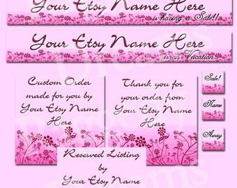 Purple Pink Flowers - Premade Etsy Shop Design - Etsy Banner - Etsy Shop Banner - SHOP ICON - Shop Profile