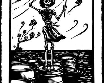 Death contemplating wind power - skeleton standing on oil spill linocut print