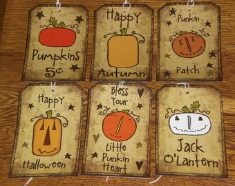 6 Primitive Hang Tags Gift Ties - Halloween Fall Seasonal - Pumpkin - Jack O Lantern - Ornies - Scrapbooking Goodie Bags Plus Bonus Tag