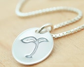 Sprouting Seedling - Sterling Silver Charm Pendant