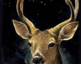 Deer And Moon Bookmark From Original Art  By Melody Lea Lamb