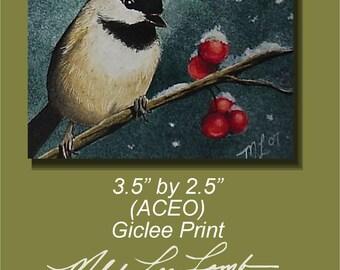Chickadee Bird Miniature Art by Melody Lea Lamb ACEO Print #30