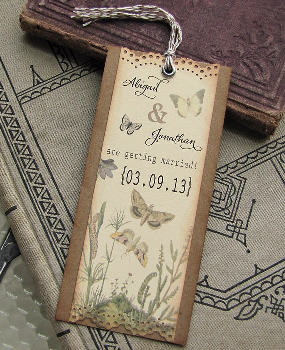 Vintage Garden Wedding Save the Date Bookmark Botanical Butterflies