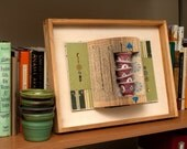 SALE - Mixed Media Artwork, Altered Book with a Stack of Chinese Tea Cups