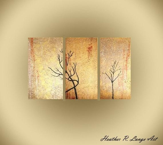 Original Triptych Painting Metallic Textured Art Heather R Lange Made To Order