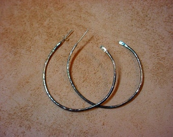 Big Hoop Earrings -  iridescent patina - eco friendly recycled 925 sterling silver - artisan forged 2.5 inches across SALE Ready to Mail