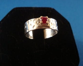 Red Ruby Ring 14k yellow gold & .925 sterling silver - Fair Trade eco-friendly  VVS lab grown ruby size 8 Ready to Mail  SALE  I made it USA