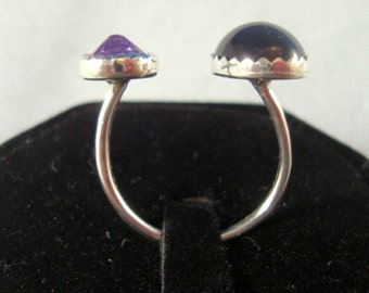 Open top double Amethyst ring - reclaimed/recycled .925 sterling silver adjustable - Purple - unusual