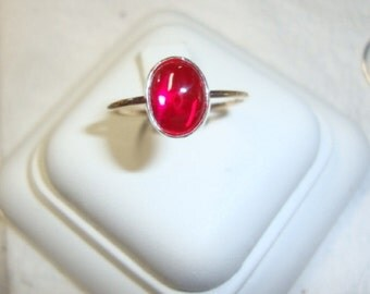 Red Ruby Ring is 10K rose or yellow gold, sterling silver Recycled - Fair Trade eco friendly lab ruby - corundum Custom made