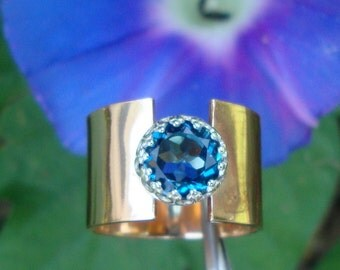 Ring -  London Blue Topaz in 1/2 inch wide Eco Friendly 14k gold filled set in recycled sterling silver- Custom made in yourSize